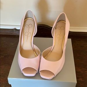 Pink paten leather open toe heels